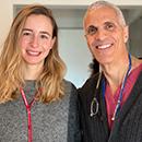 Dr. Angela Ros Sanjuan, 2019 endoscopic neurosurgery fellow, with Dr. Mark Souweidane